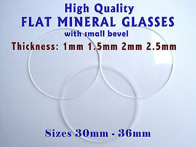 WATCH GLASS CRYSTAL FACE LENS Flat 1mm 1.5mm 2mm 2.5mm Thick,  Dia 30mm - 36mm