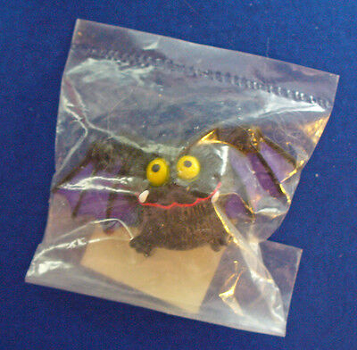Buy3/Get1FREE~MIP Russ PIN Halloween BAT Black VAMPIRE Purple YELLOW Eyes Vtg