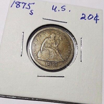 1875-S Liberty Seated Twenty 20-Cent Piece, Rare Coin!!  Free Ship!