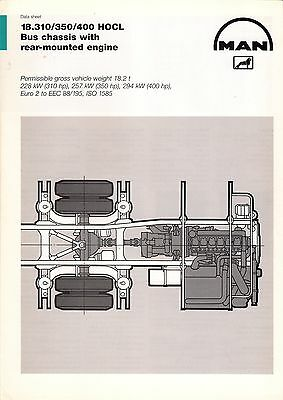 Bus Manufacturer Specification Sheet - MAN 18.310 etc HOCL Rear-Engined - 1990s