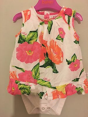 Baby Girls Designer Ted Baker Floral Summer Vest Dress Top 9-12m ��