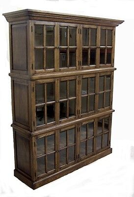 SOLID OAK  BOOKCASE w/ 12 DOORS ..  FREE SHIPPING