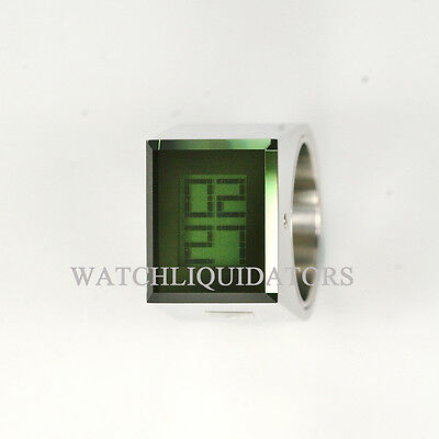 Fossil Made Philippe Starck Stainless Steel Green Lady Ring Watch Size 6