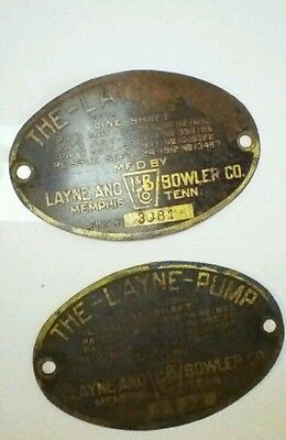 1912  THE LAYNE PUMP BADGE BRASS Vintage Early