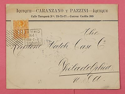 1900 Chile Single Franked Cover Advertising To Usa