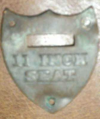 Small Brass Shield From Antique Horse Saddle Marked 11 Inch Seat