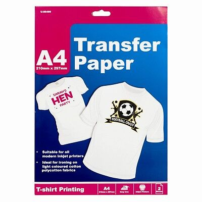 2 / 4 / 8 Sheets A4 T-Shirt Transfer Paper Ink Jet Iron On Fabric