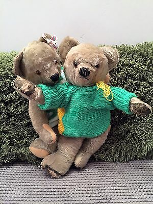 Arthur & Martha ~ TWO Old Loved Antique Chad Valley Mohair Teddy Bear in clothes