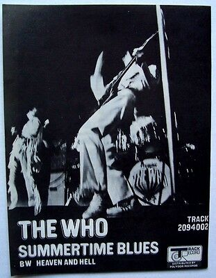 THE WHO 1970 poster type Advert SUMMERTIME BLUES heaven and hell