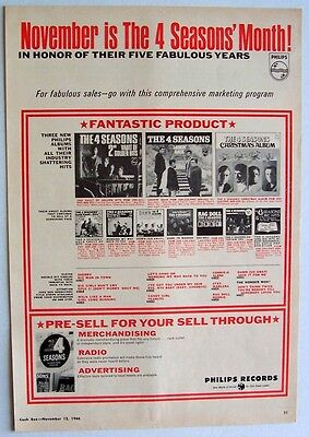 THE 4 SEASONS 1966 Poster Ad NOVEMBER IS 4 SEASONS MONTH philips records