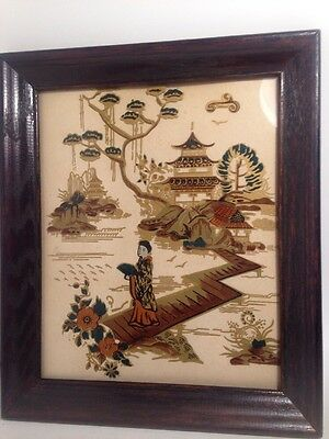 JAPANESE Reverse Painted Glass Wall Hanging Wooden Frame