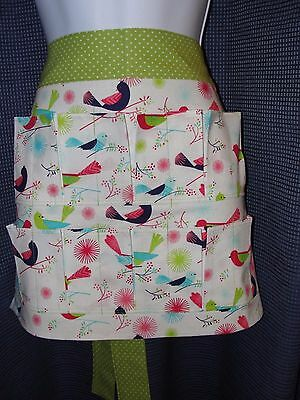 Egg Gathering Collecting Apron 10 Pockets Birds on Branches Green Polka Dot