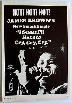 JAMES BROWN 1968 Poster Ad GUESS I'LL HAVE TO CRY CRY CRY