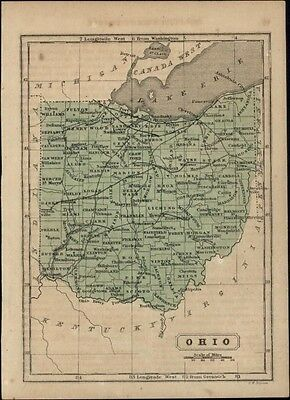 Ohio state by itself 1857 scarce antique Boynton map w/ original hand color