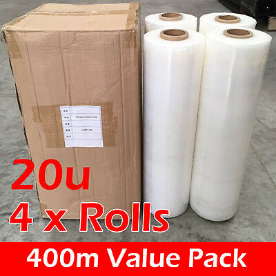 4 x Rolls Shrink Stretch Wrap CLEAR Hand Film for Pallet Carton [ 400m 20UM ]