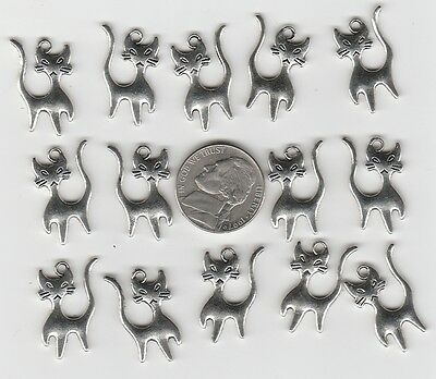 You Get 24 Silver Tone  Metal Alley Cat Pendent Charms -  U.s. Seller. -C 37