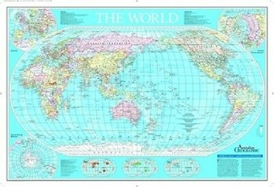 "AUSTRALIAN GEOGRAPHIC WORLD MAP POSTER ""LICENSED"" LARGE 61cm X 91.5cm"