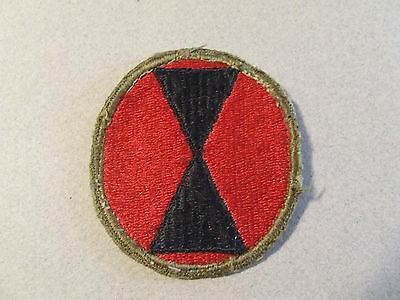 Wwii Us Army 7Th Infantry Division Shoulder Patch Green Back