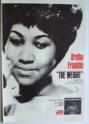 ARETHA FRANKLIN 1969 Poster Ad THE WEIGHT