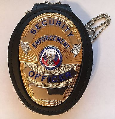 SECURITY ENFORCEMENT OFFICER Badge Nickel/Gold & Neck/Belt Holder LAPD Style NEW