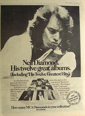 NEIL DIAMOND 1977 Poster Ad HIS 12 GREATEST HITS