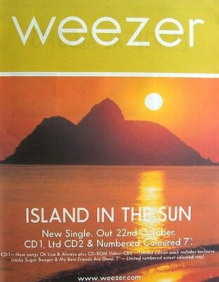 WEEZER 2001 Poster Ad ISLAND IN THE SUN
