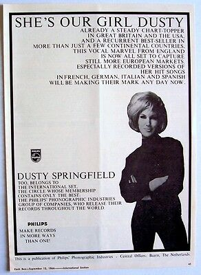 DUSTY SPRINGFIELD 1964 Poster Ad A GIRL CALLED DUSTY philips