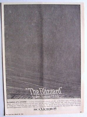 JIM REEVES 1961 Poster Ad THE BLIZZARD