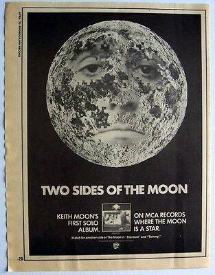 the who KEITH MOON 1975 Poster Ad TWO SIDES OF THE MOON