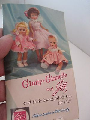 Vtg 1957 VOGUE GINNY GINNETTE JILL DOLLS Beautiful Fashion Clothes BOOK LET