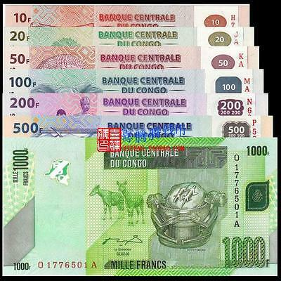 Congo 10+20+50+100+200+500+1000 Francs Set 7pcs BrandNew Banknote