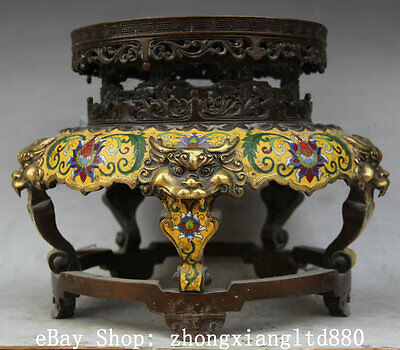 """13"""" Chinese Palace Cloisonne Bronze Gild Lion Head tablet chair Foot Round stool"""