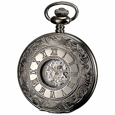 KS Silver Case White Dial Half-Hunter FOB Roman Skeleton Mechanical Pocket Watch
