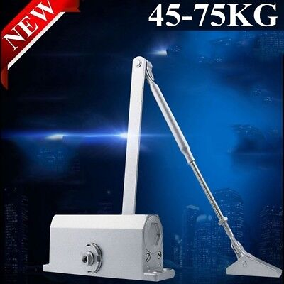Adjustable Automatic Fire Rated Hold Open Silver Door Closer Suits 60~80Kg Home
