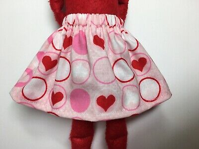 Christmas Elf Girl Doll Red & Pink Skirt Valentines Day Hearts & Circles