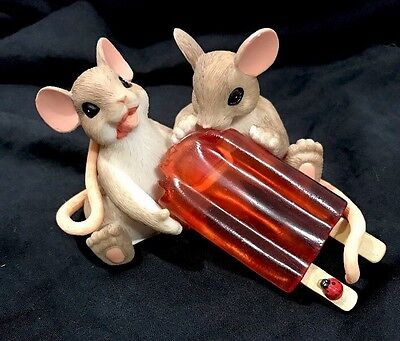 Charming Tails SHARING With You is So Cool POPSICLE Enesco Mouse Figurine Mice
