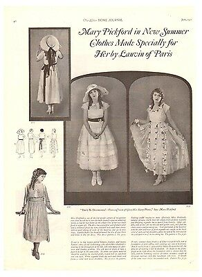 1921 Lanvin of Paris Ad  Mary Pickford New Summer Clothes Made Specially For Her