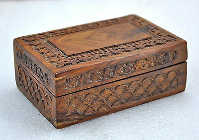 1950s Indian Vintage Hand Carved Wooden Jewellery Box