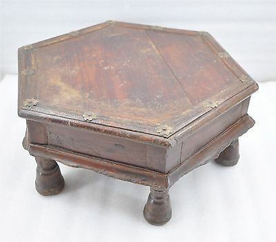 1850s Indian Antique Hand Crafted Brass Fitted Wooden Small Sitting Stool Bajot