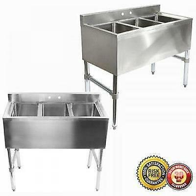 3 Compartment Stainless Steel Under Bar Kitchen Restaurant Commercial Sink New