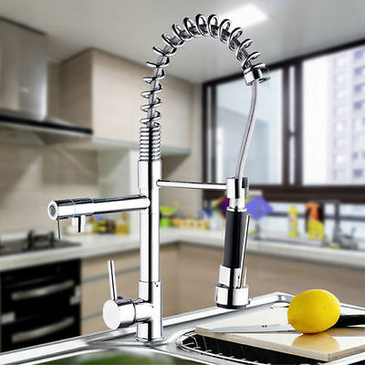 UK Swivel Mixer Pull Out Tap Two Spouts Sink Basin Kitchen Faucet Chrome Spray
