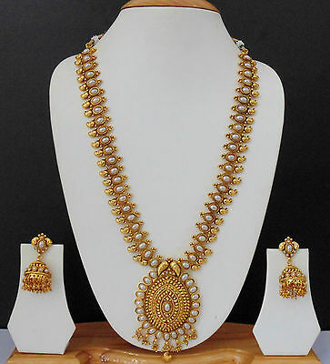 Indian Long Necklace Jewelry Bollywood Gold Plated Traditional Pearl Ethnic Set