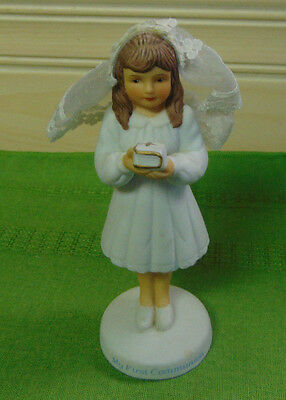 First Communion Figurine Brunette Girl by Roman 1990