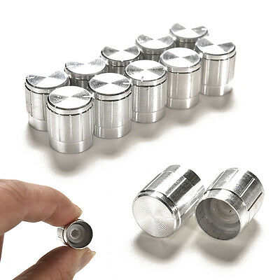 10 x Silver Aluminum Volume Tone Control Rotary Knobs For 6mm Dia Potentiometer