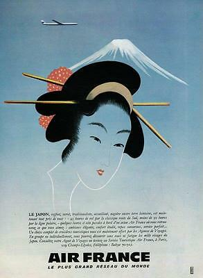1959 ORIGINAL FRENCH MAGAZINE ADVERT PRINT Air France Airlines Ad JAPAN (5129)
