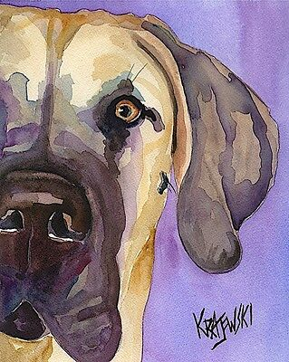 Great Dane Dog Art Print Signed by Artist Ron Krajewski Painting 8x10 Fawn