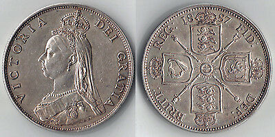 VICTORIA SILVER FLORIN Coin 1887  =  I in DATE  for 1