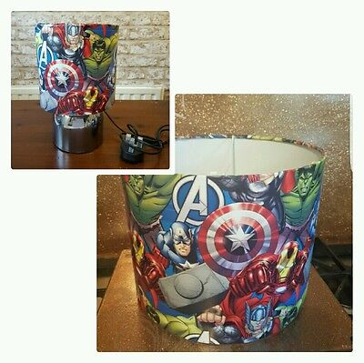 Brand New Marvel Avengers ceiling lightshade & touch lamp set hand crafted!