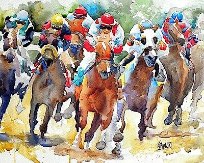 Horse Racing Art Print Signed by Artist Ron Krajewski Painting 8x10