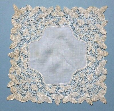 VICTORIAN LAWN HANDKERCHIEF WITH HONITON LACE EDGING - Violets & Blackberry Leaf